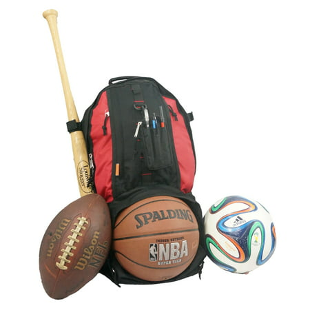 Baseball Backpack Softball Daypack Basketball Volleyball Backpack Football Soccer Bag w/ Ball Storage Helmet Compartment & Bat Holder & Coin Phone Pouch - Red