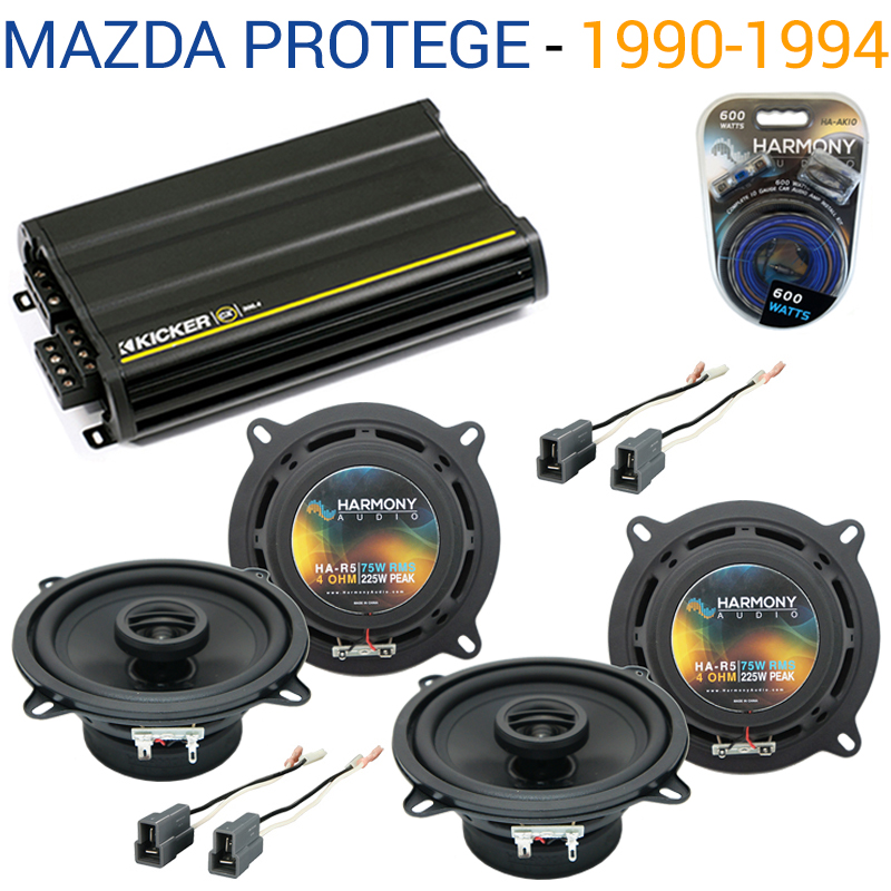 Mazda Protege 1990-1994 OEM Speaker Replacement Harmony (2) R5 & CX300.4 Amp - Factory Certified Refurbished