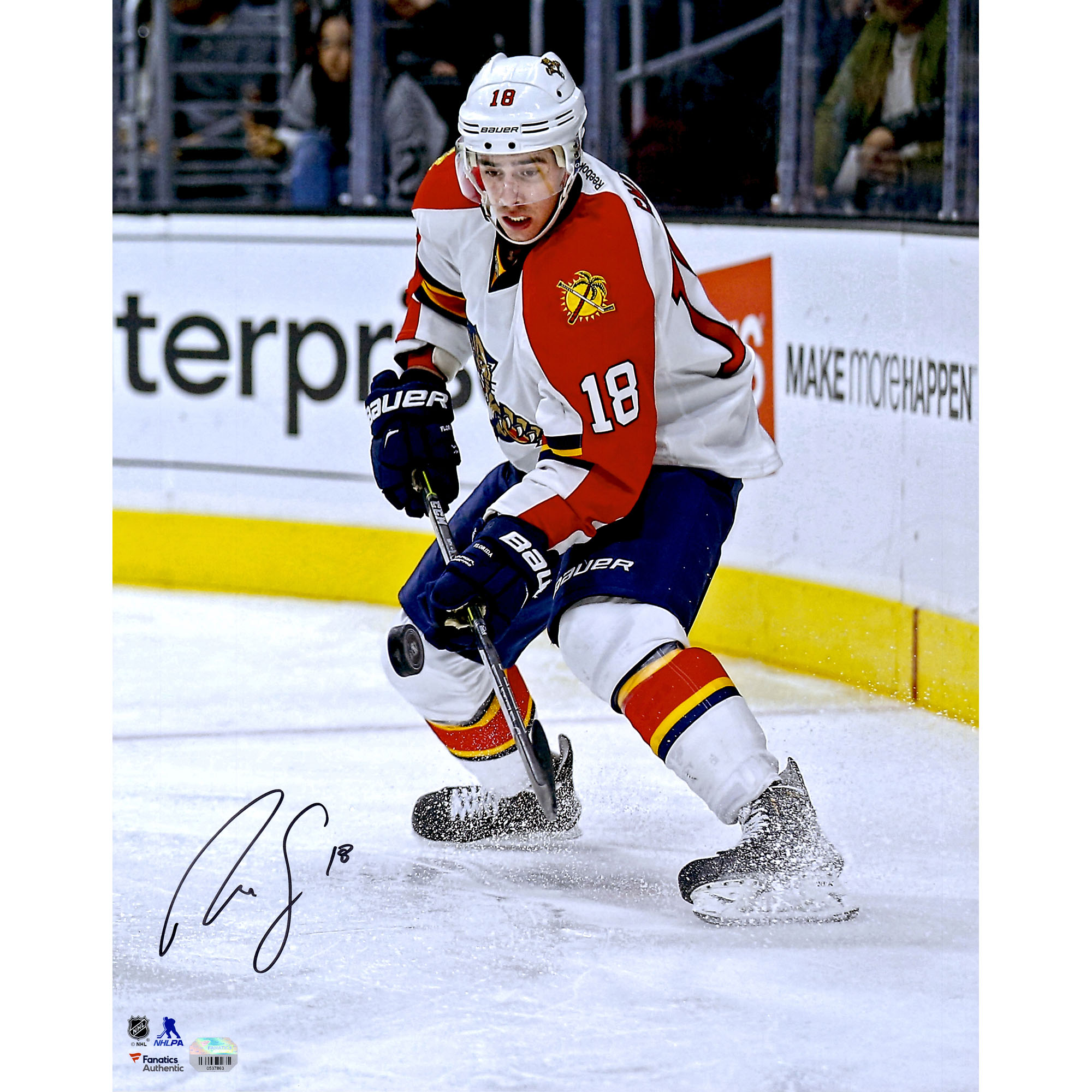 """Reilly Smith Florida Panthers Fanatics Authentic Autographed 16"""" x 20"""" White Jersey Stopping Photograph - No Size"""