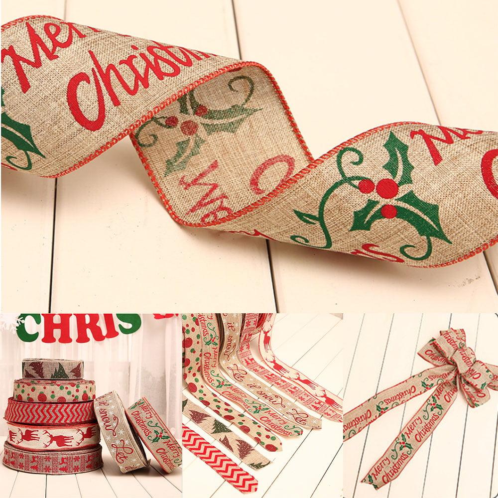4 Pcs Christmas Ribbon Burlap Ribbon Diy Linen Roll Wrapping Decorations Burlap Fabric Craft Ribbon Walmart Canada