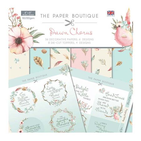 The Paper Boutique Dawn Chorus Paper Kit 8x8 Paper Pad & Die Cut Toppers
