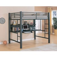 Coaster Twin-Over-Workstation Loft Bed, Gray