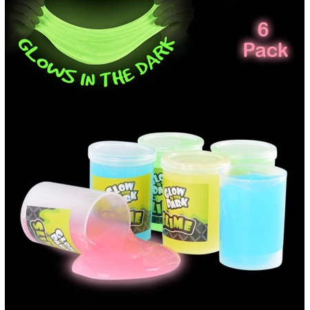 Glow In The Dark Slime - 6 Pack - Assorted Neon Colors- Great Toy For Any Child Favor, Gift, Birthday- By Kidsco - Glow In The Dark Colors