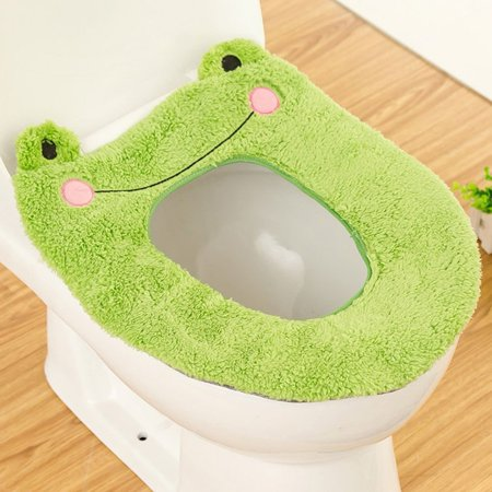 Tmishion Cute Cartoon Bathroom Toilet Seat Cover Soft Warm Washable Velve Winter Warmer