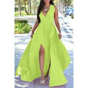 Summer Women Chiffon Long Dress Deep V-Neck Party Dress