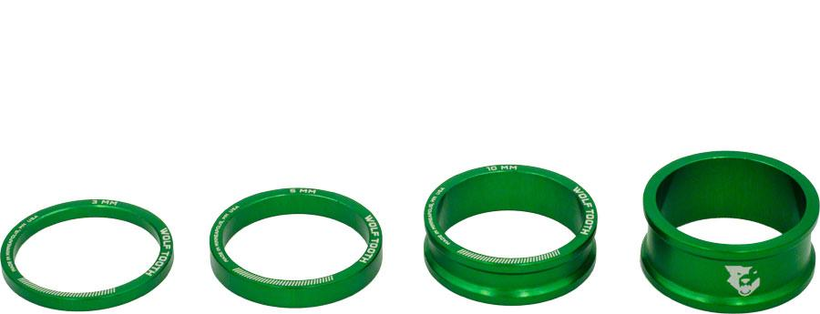 New Wolf Tooth Components Headset Spacer Kit 3 510 15mm Green