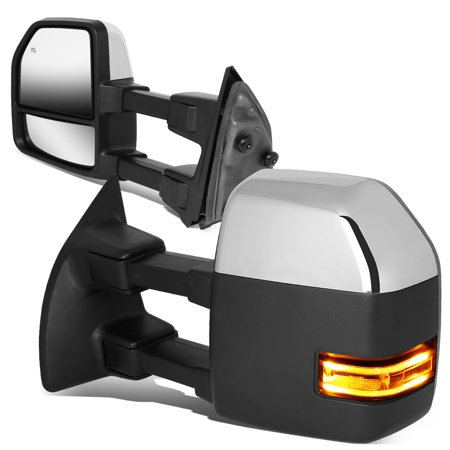 Super Duty Towing Mirror Truck - For 2008 to 2016 Ford F250 / F350 / F450 / F550 Super Duty Powered Adjustment Side Towing Mirror w / Heated+LED Turn Signal (Chrome Trim) 09 10 11 12 13 14 15 16