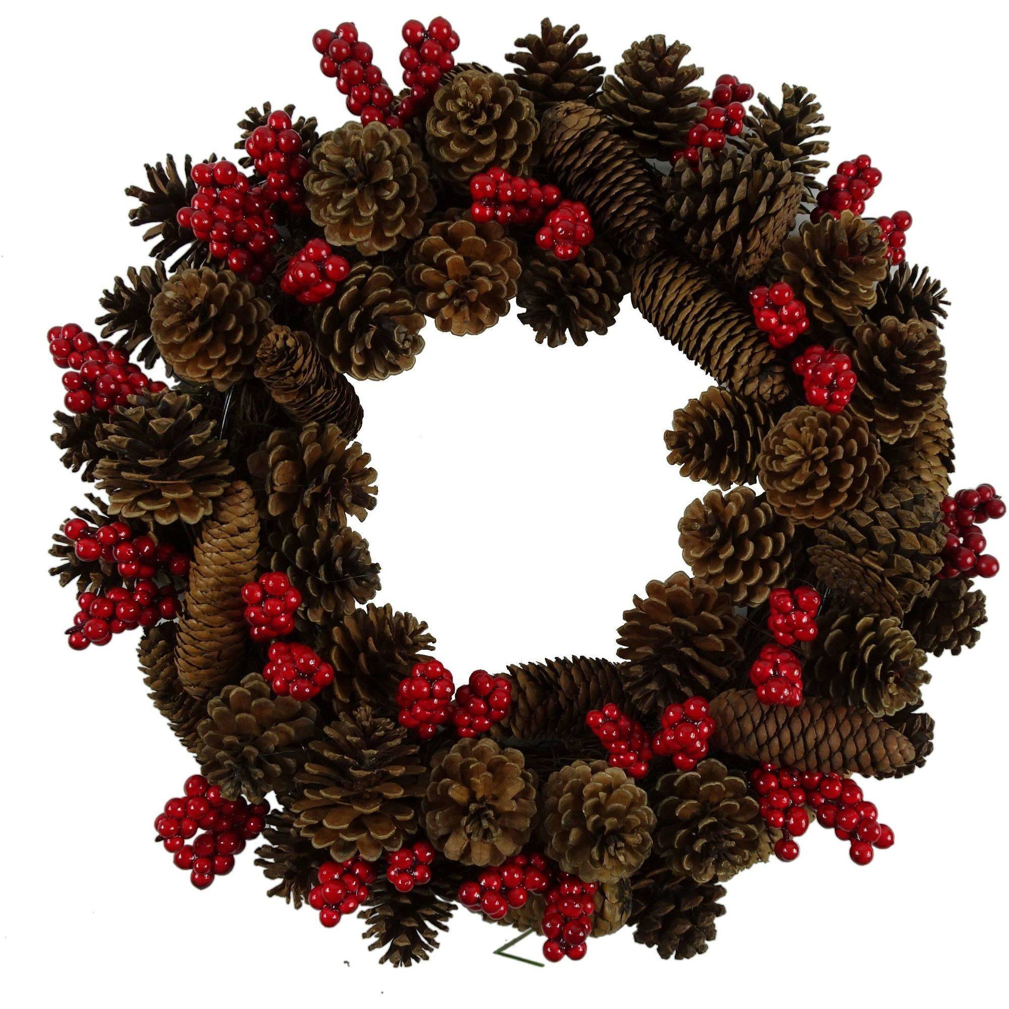 "Holiday Time Christmas Decor 17"" Pinecone / Beery Wreath"