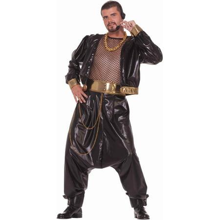 Adults Mens 80s Rap Hip Hop Star Baggy MC Hammer Black and Gold Costume