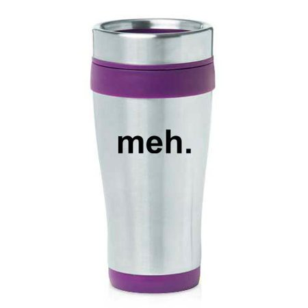 16oz Insulated Stainless Steel Travel Mug Meh Geek Sarcastic Expression (Purple)