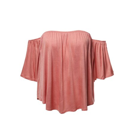 FashionOutfit Women's Casual Solid Elastic Shoulder Line Off-Shoulder Top