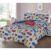 6-PC TWIN RACE CAR Complete Bed In A Bag Comforter Bedding Set With Furry Friend and Matching Sheet Set for Kids