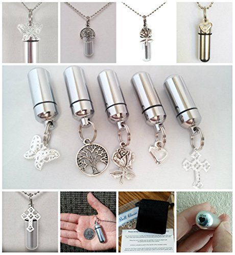 Special Family Set - Assortment of FIVE ANNOINTING HOLDER NECKLACES with LASER ENGRAVED HEARTS - (Rose/Tree of Life/Butterfly/Cross/Open Heart) - Includes 5 Velvet Pouches 5 Ball-Chains & Fill Kit