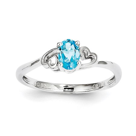 925 Sterling Silver December Birthstone Swiss Blue Topaz Heart Ring Size 10 (Blue Topaz Ring Size 10)
