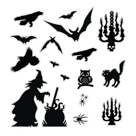 Decorate Halloween Party Cheap (Fun Express - Halloween Silhouette Decor Kit (3pc) for Halloween - Party Decor - General Decor - Decorating Kits - Halloween - 3)