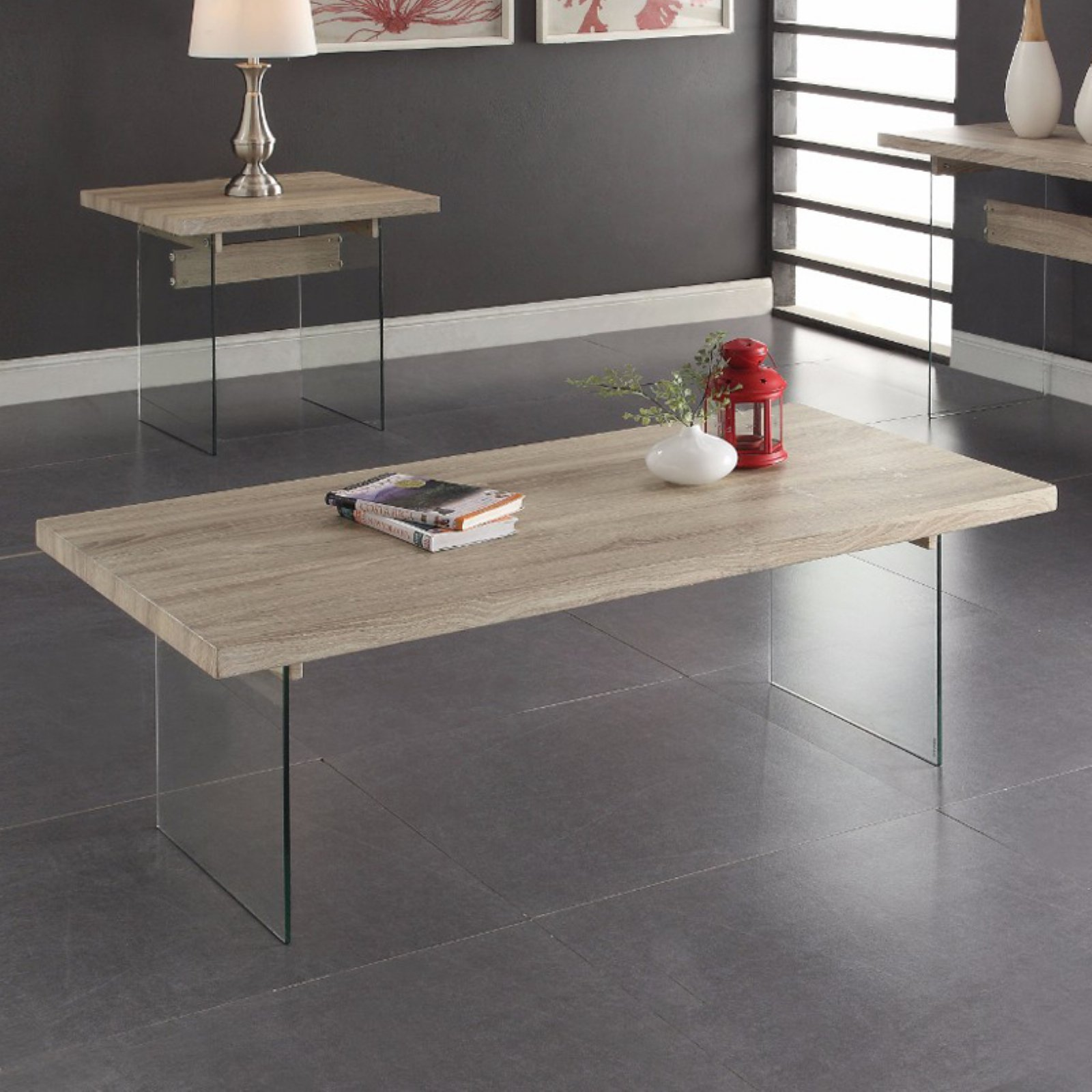Conventional Coffee Table, Clear Glass & Oak Brown