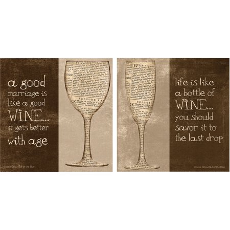 Thirstystone Occasions Drink Coasters, Set, Good Marriage/Bottle of Wine A/2