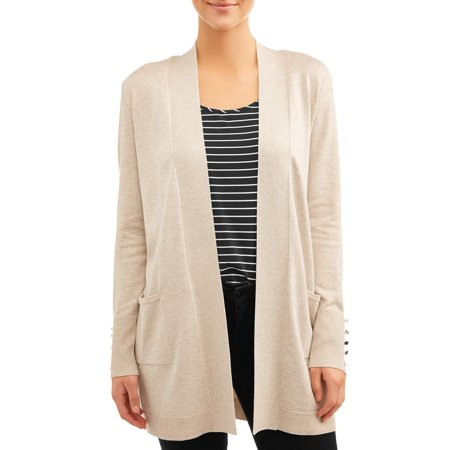 Women's Open Front Cardigan with Button Cuff Button Cuff Turtleneck Sweater