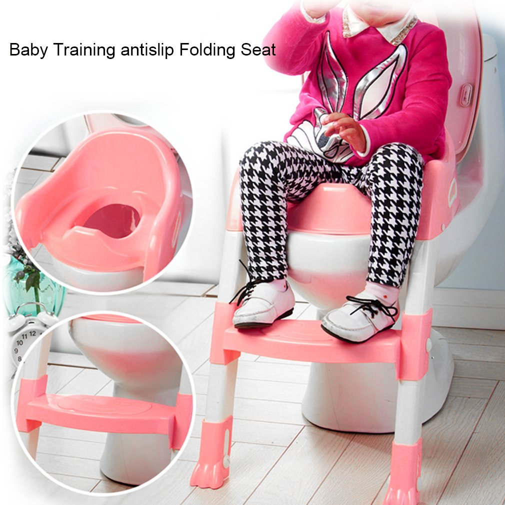 3 in 1 Baby Potty Training Toilet Chair Seat Step Ladder Trainer Toddler, Pink