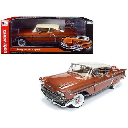 Limited Edition Air (1958 Chevrolet Bel Air Impala Sierra Gold Metallic w/Cream Top Limited Edition to 1002 pcs 1/18 Diecast Car by Autoworld)