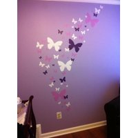 Butterfly Wall Decals- Lavender, Lilac & White Beautiful Butterfly Wall Stickers ~For Girls Room Decor