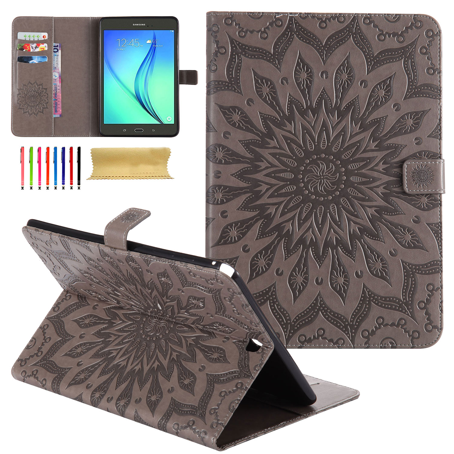 "Galaxy Tab A 10.1"" SM-T580 Case (NO S Pen Version), Goodest Slim Light Weight Full Body Protective Smart Cover Auto Sleep Wake Flip Folio Kickstand Wallet Case for Samsung Galaxy Tab A 10.1, Gray"