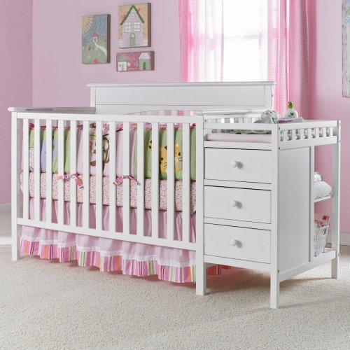 Graco Lauren 4 in 1 Convertible Crib and Changer Combo - Classic White