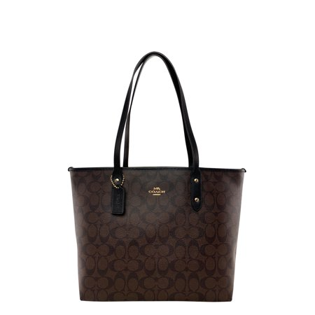 Coach F58292 Signature City Zip Top Large Tote Brown Black Leather Trim Classic Top Zip Shoulder Bag