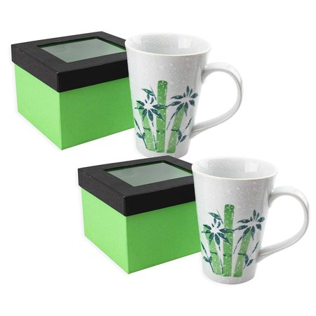 Set of 2 16 Ounce Porcelain Large Coffee Mug w Gift Box Hand - painted Green Bamboo & Snowflake Design Home Decor ECM 2F15748