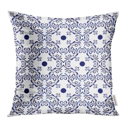 YWOTA Abstract Ornamental Design Porcelain Indigo Blue and White Simple Ceramic China Pillow Cases Cushion Cover 20x20 (Chinese Blue White Porcelain)