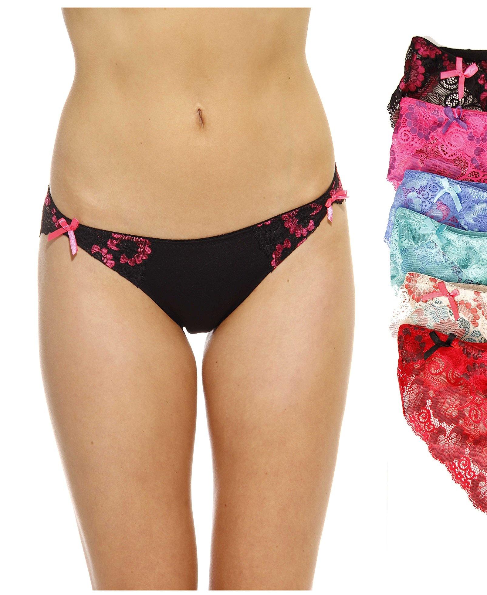Just Intimates Thongs Panties for Women Pack of 6