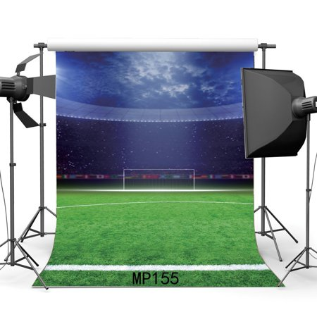 HelloDecor Polyster 5x7ft Football Field Backdrop Stadium Green Grass Meadow Stage Lights Crowd Blue Sky White Cloud Sports Game Match Photography Background Boys Kid Happy Birthday Photo Studio Props (Football Stadium Backdrop)