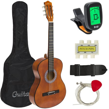 - Best Choice Products 38in Beginner Acoustic Guitar Starter Kit w/ Case, Strap, Digital E-Tuner, Pick, Pitch Pipe, Strings - Brown