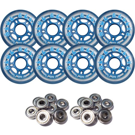 Wheels And Blades - BLUE BELLYS 76mm 78a Roller Inline Skate Wheels with ABEC 5 BEARINGS