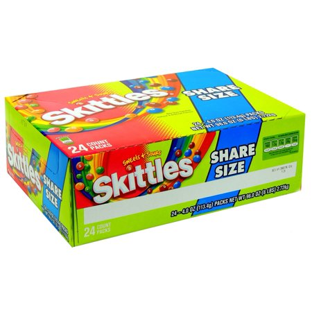 Product Of Skittles, King Size Sweet N Sour , Count 24 (4 oz) - Sugar Candy / Grab Varieties & Flavors
