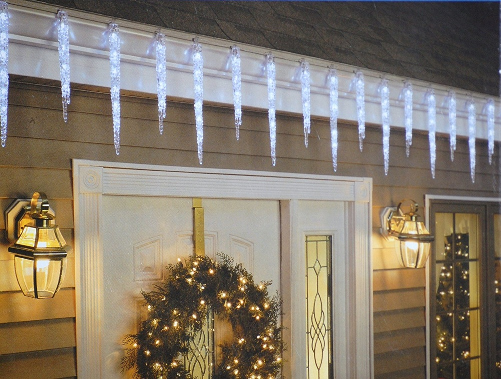 GE 20-Count 100 LED Twinkling Ice Crystal Icicle Set, Crystal White by GE