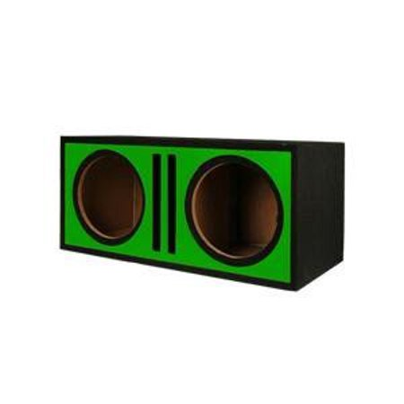 """Absolute Pdeb12gr (Green) Dual 12"""" 3/4"""" MDF Twin Port Subwoofer Enclosure w/ Green High Gloss Face Board"""