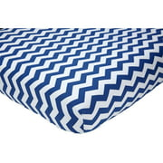 Little Love Chevron Crib Sheet, Navy/White