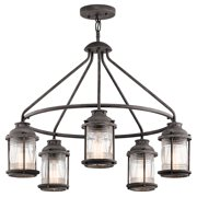 Kichler 49667 Ashland Bay 5 Light 1 Tier Outdoor Chandelier - Weathered Zinc