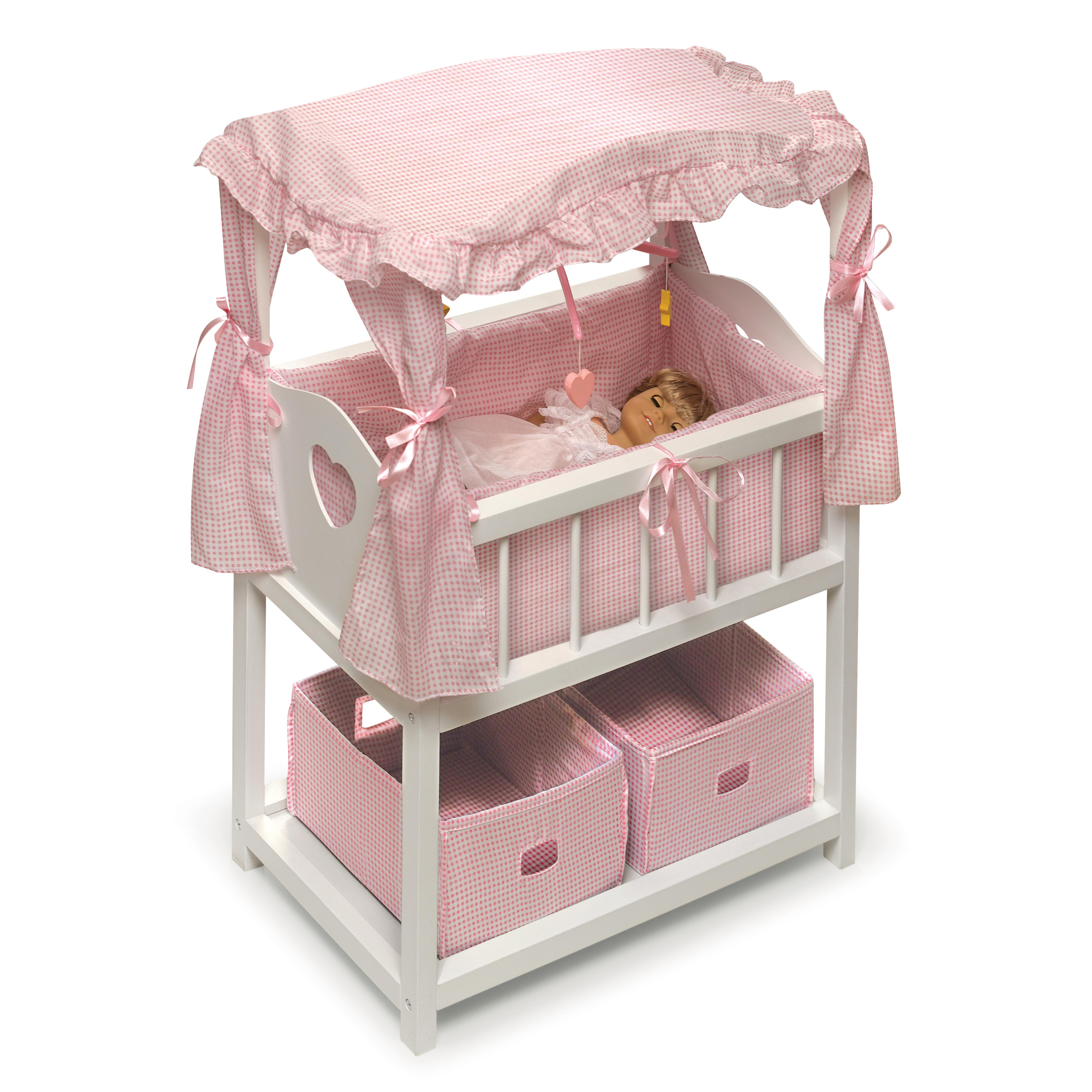 "Badger Basket Canopy Doll Crib with Baskets & Mobiles - Fits Most 18"" Dolls & My Life As"