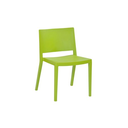 Elio Modern Plastic Dining Side Chair  Set Of 2  Green