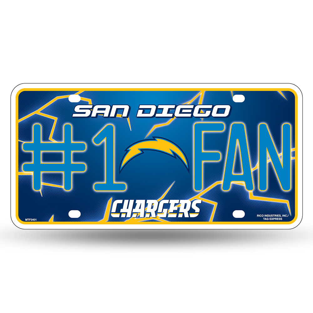 San Diego Chargers NFL Metal Tag License Plate (#1 Fan)