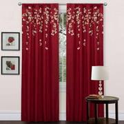 Flower Drops Window Panel Single Red 42x84