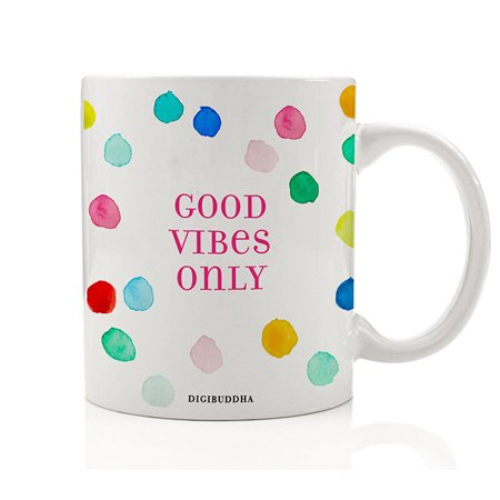 Good Vibes Only Gifts Coffee Mug, Positive Inspirational Motivational Tea Cup Quote Rainbow Polka Dot Happy Christmas Birthday Present Idea for Her Sister Mom Mother Friend Wife 11oz Digibuddha (Last Minute Christmas Gift Ideas For Wife)