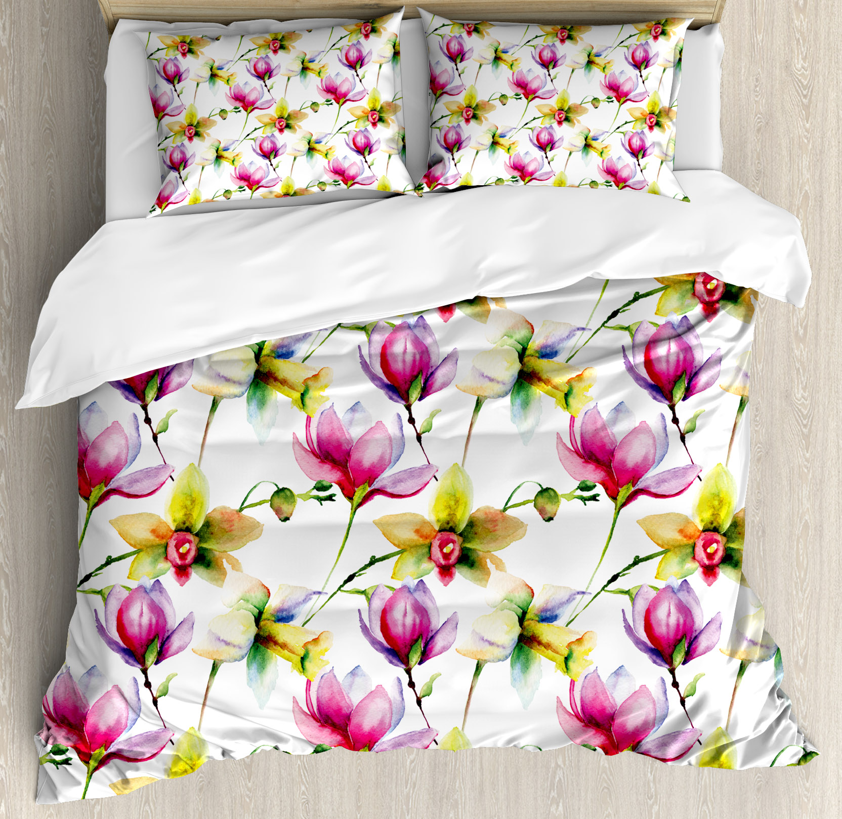 Floral Queen Size Duvet Cover Set, Blurry Hazy Toned Vibr...
