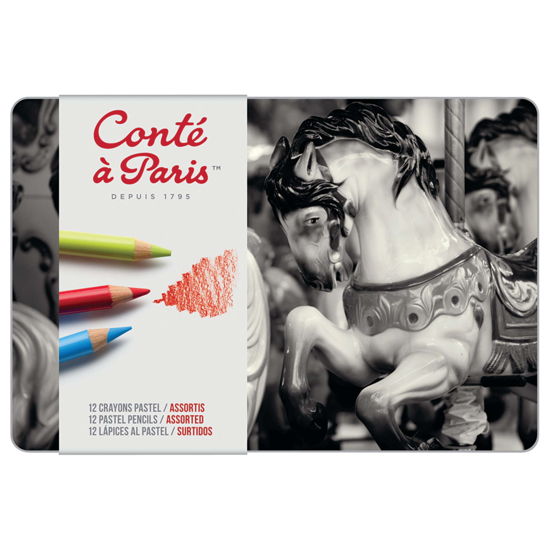 Conte Conté Pastel Pencil Set, 12-Color Set