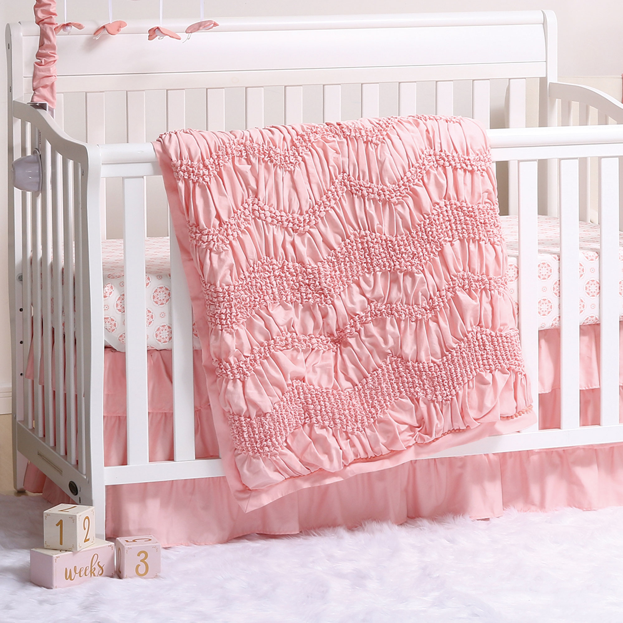 Jayden Coral Smocked 3 Piece Baby Crib Bedding Set by The Peanut Shell