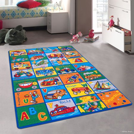 Allstar Kids Baby Room Area Rug Learn Abc Alphabet Letters Transportation Bright Colorful