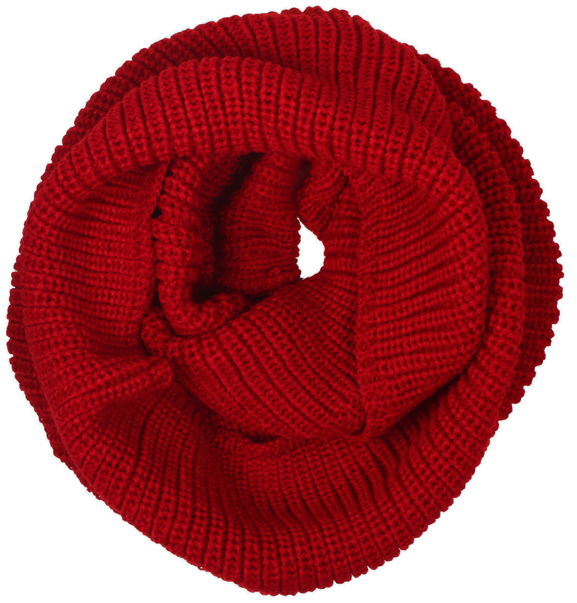 Simplicity Lightweight Solid Color Circle Scarf for Women and Men, Dark Red