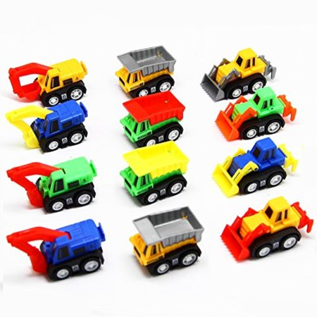 AOSILEY 12 Pack Pull Back Vehicles, Assorted Construction Vehicles Dump Truck Toys for 3,4,5,6 Year Toddlers Boys, Pull Back and Go Mini Car Kids Toy Play Set